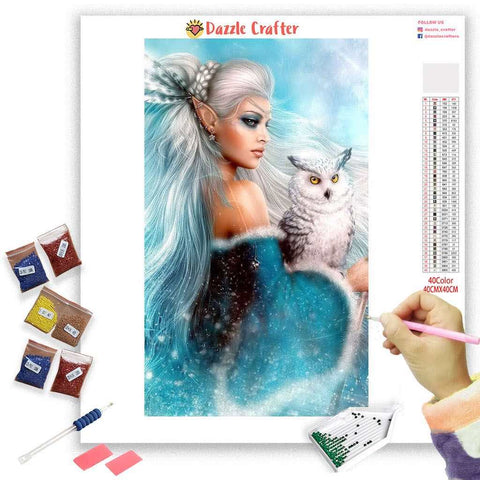 SNOW QUEEN WITH OWL  Diamond Painting Kit