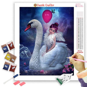 LITTLE GIRL AND THE SWAN Diamond Painting Kit