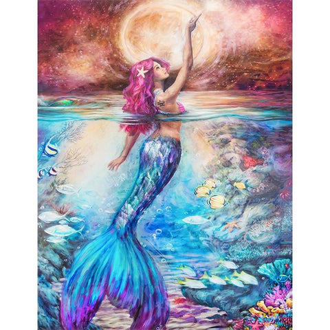 MERMAID IN FULL MOON  Diamond Painting Kit