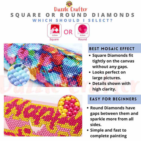 Image of HOW TO CHOOSE SQUARE OR ROUND DIAMONDS FOR DIAMOND PAINTING