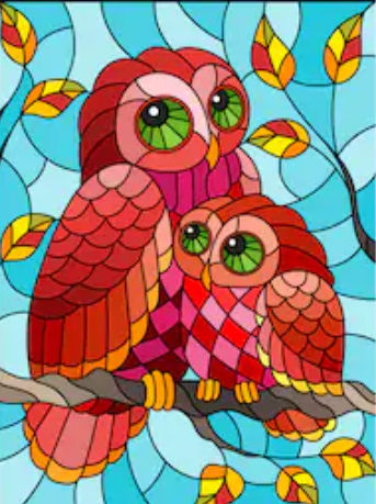 Image of OWL WITH BABY Diamond Painting Kit - DAZZLE CRAFTER