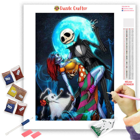 Image of DANCING SKULL COUPLE Diamond Painting Kit - DAZZLE CRAFTER