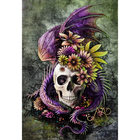 Image of SKULL WITH THE PURPLE  SERPENT Diamond Painting Kit - DAZZLE CRAFTER
