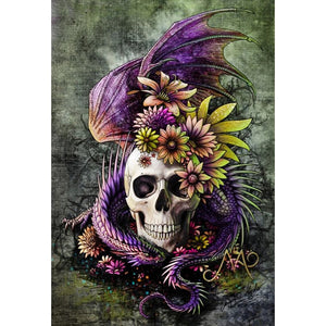 SKULL WITH THE PURPLE  SERPENT Diamond Painting Kit - DAZZLE CRAFTER