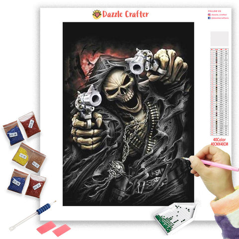 Image of FIGHTING WITH GUNS  Diamond Painting Kit - DAZZLE CRAFTER