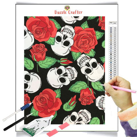Image of SKULLS AND ROSES Diamond Painting Kit