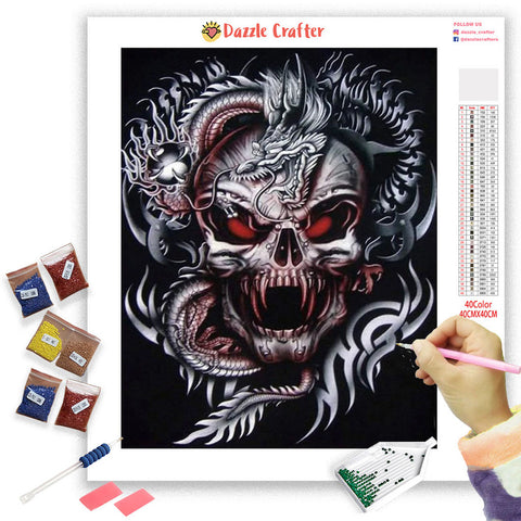 Image of BLOOD EYES SKULL Diamond Painting Kit - DAZZLE CRAFTER