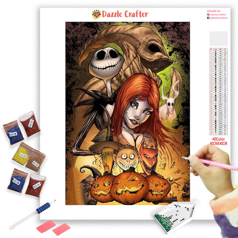 Image of HALLOWEEN SKULL COUPLE Diamond Painting Kit - DAZZLE CRAFTER