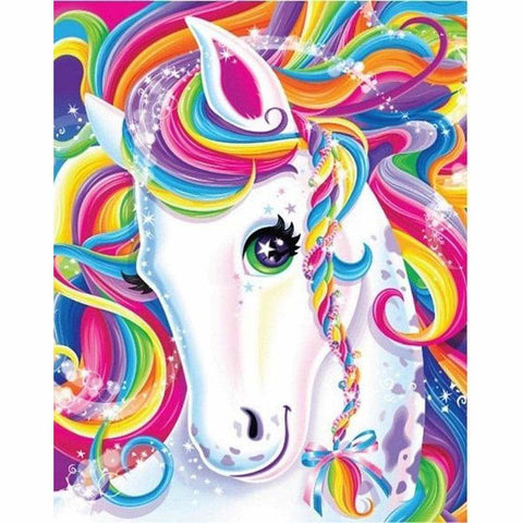 Image of WHITE UNICORN WITH RAINBOW COLORS Diamond Painting Kit