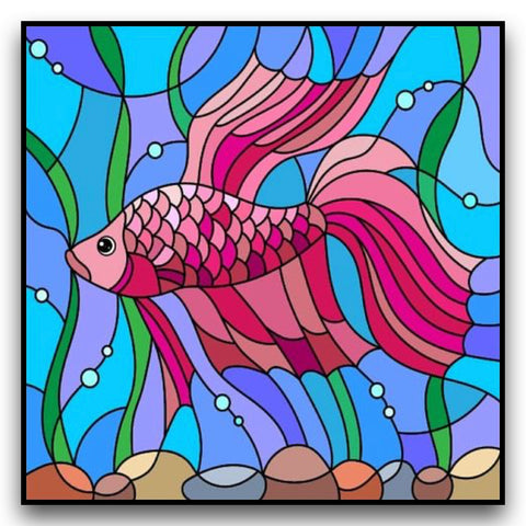 Image of PRETTY PINK FISH Diamond Painting Kit - DAZZLE CRAFTER