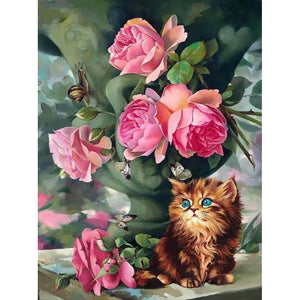 PINK ROSES WITH GOLDEN KITTEN Diamond Painting Kit - DAZZLE CRAFTER