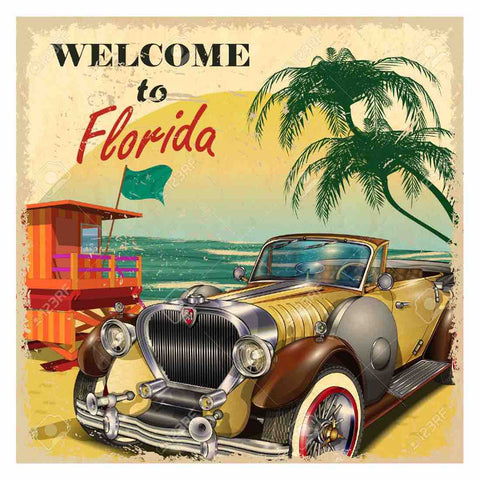 Image of TRAVEL TO FLORIDA VINTAGE Diamond Painting Kit
