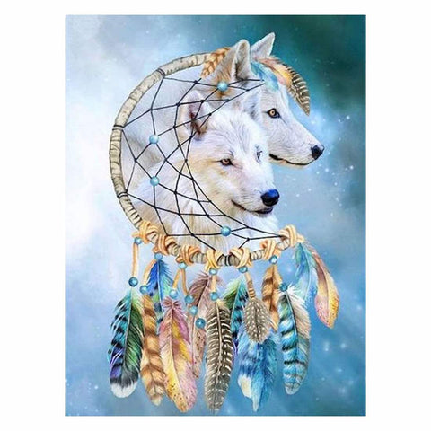 Image of BLUE DREAMCATCHER WOLVES Diamond Painting Kit