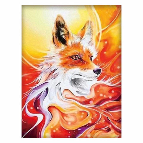 FIERY ORANGE WOLF Diamond Painting Kit