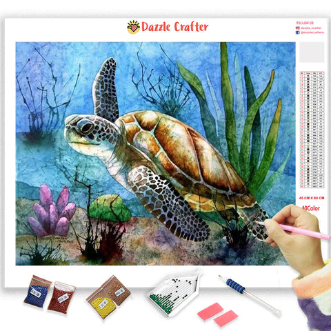 Image of UNDERWATER TURTLE Diamond Painting Kit