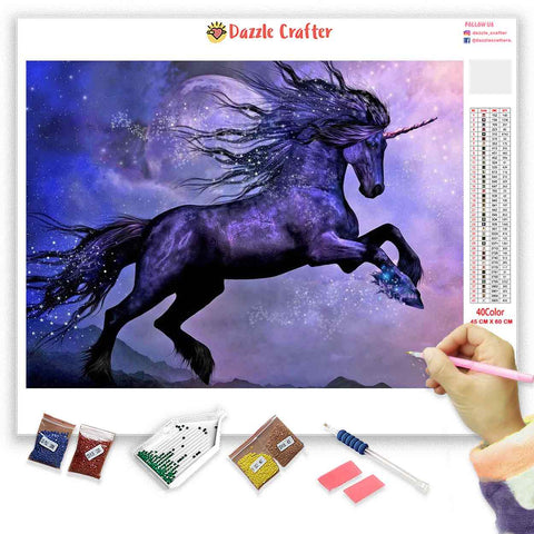 Image of VIBRANT PURPLE UNICORN AT DUSK Diamond Painting Kit
