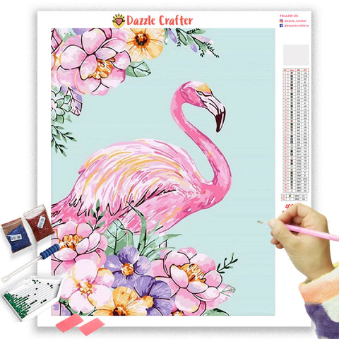 Image of PASTEL PINK FLAMINGO Diamond Painting Kit