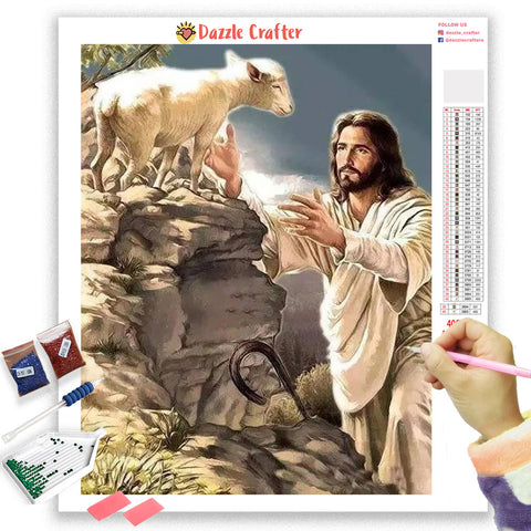 Image of JESUS CHRIST WITH LAMB  Diamond Painting Kit