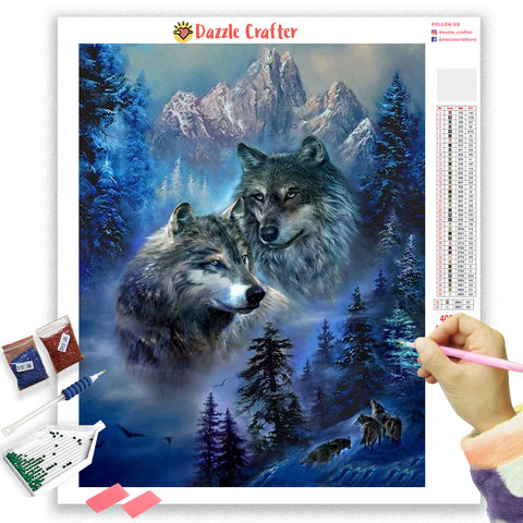 Image of WOLF PAIR IN THE MOUNTAINS Diamond Painting Kit