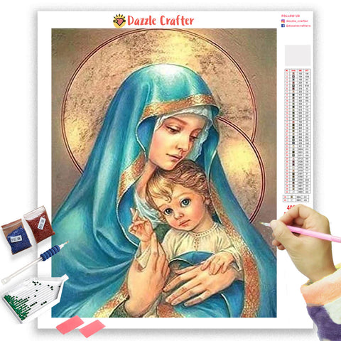 Image of MOTHER MARY WITH JESUS Diamond Painting Kit