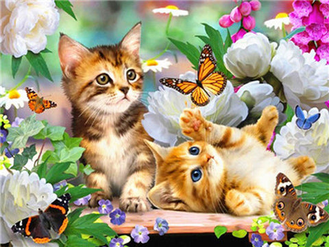 Image of CATS CHASING BUTTERFLIES Diamond Painting Kit - DAZZLE CRAFTER