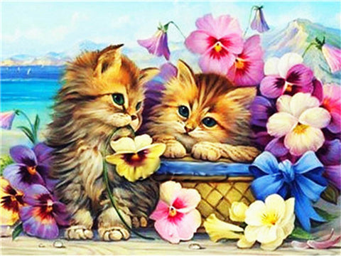 Image of CATS WITH DAFFODILS Diamond Painting Kit - DAZZLE CRAFTER