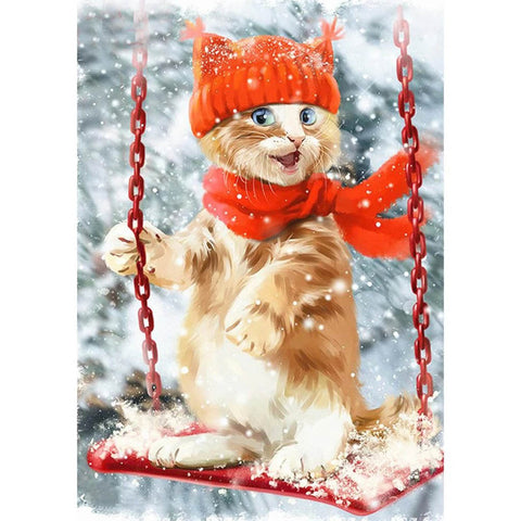 Image of CAT ENJOYING THE SWING Diamond Painting Kit - DAZZLE CRAFTER
