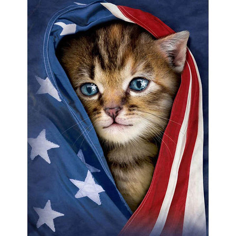 Image of MY PATRIOT KITTEN  Diamond Painting Kit - DAZZLE CRAFTER