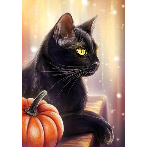 Image of HALLOWEEN BLACK CAT  Diamond Painting Kit - DAZZLE CRAFTER