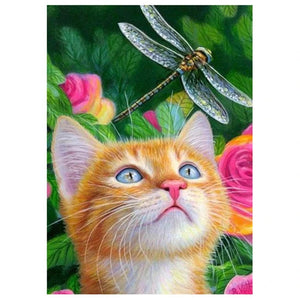 CAT WITH A DRAGONFLY Diamond Painting Kit - DAZZLE CRAFTER