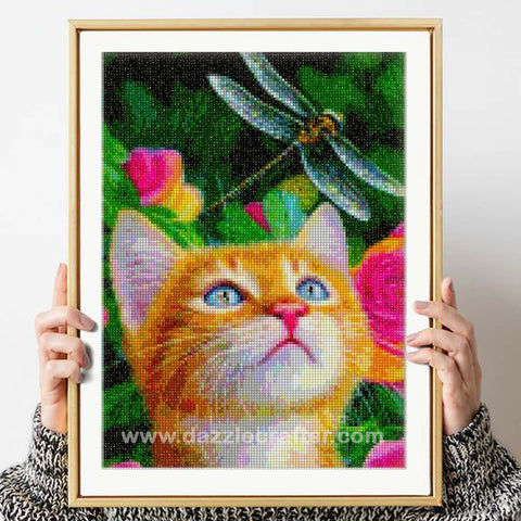 Image of CAT WITH A DRAGONFLY Diamond Painting Kit - DAZZLE CRAFTER