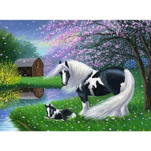 FANTASY WHITE HORSE WITH CHERRY BLOSSOMS Diamond Painting Kit