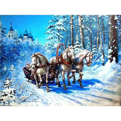 Image of HORSES IN SNOW Diamond Painting Kit