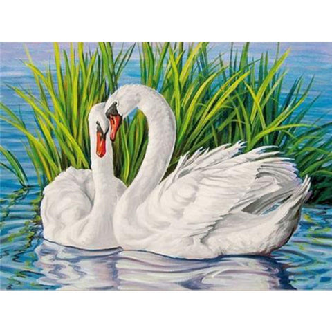 Image of WHITE SWAN LOVE Diamond Painting Kit