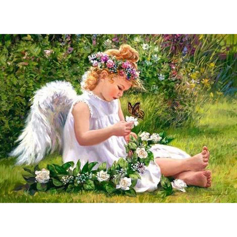 Image of ANGEL WITH FLOWER BRAID  Diamond Painting Kit