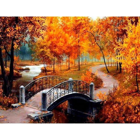 Image of CROSSING THE BRIDGE IN AUTUMN SERIES Diamond Painting Kit