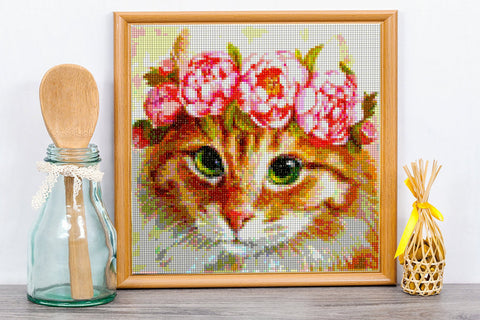 FLOWER CROWN KITTY Diamond Painting Kit - DAZZLE CRAFTER