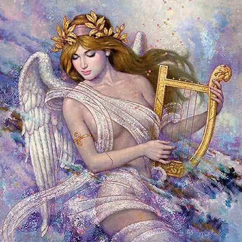 Image of FAIRY WITH THE HARP Diamond Painting Kit - DAZZLE CRAFTER