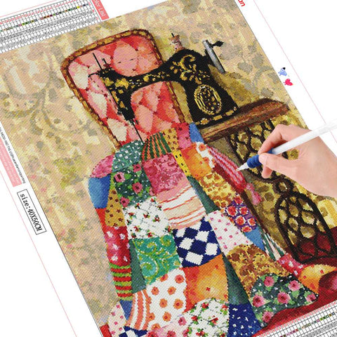 Image of SEWING A QUILT Diamond Painting Kit - DAZZLE CRAFTER