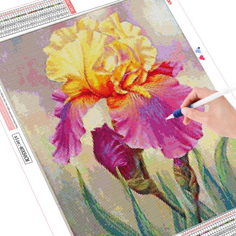 Image of YELLOW & PURPLE IRIS Diamond Painting Kit - DAZZLE CRAFTER