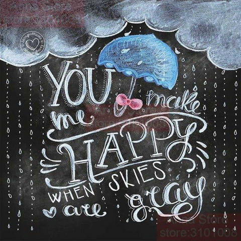 CHALKBOARD QUOTES - YOU MAKE ME HAPPY Diamond Painting Kit - DAZZLE CRAFTER