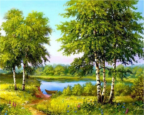 TREE WITH STREAM LANDSCAPE Diamond Painting Kit - DAZZLE CRAFTER