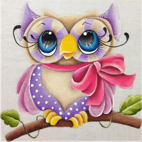 Image of OWL WITH BOW Diamond Painting  Beginner's Kit - DAZZLE CRAFTER