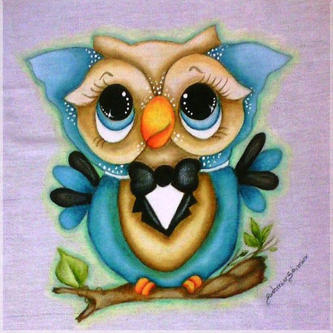 Image of OWL WITH BOW Diamond Painting Kit - DAZZLE CRAFTER