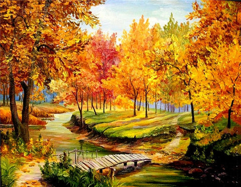 CROSSING THE BRIDGE IN AUTUMN SERIES Diamond Painting Kit - DAZZLE CRAFTER