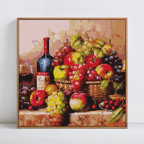 Image of WINE & FRUITS IN A BASKET Diamond Painting Kit - DAZZLE CRAFTER