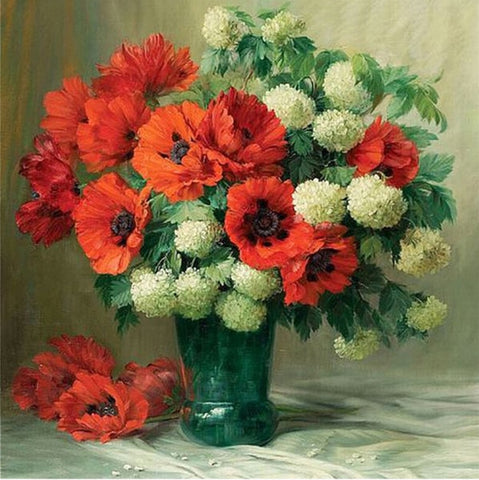 Image of POPPIES IN A VASE Diamond painting Kit - DAZZLE CRAFTER