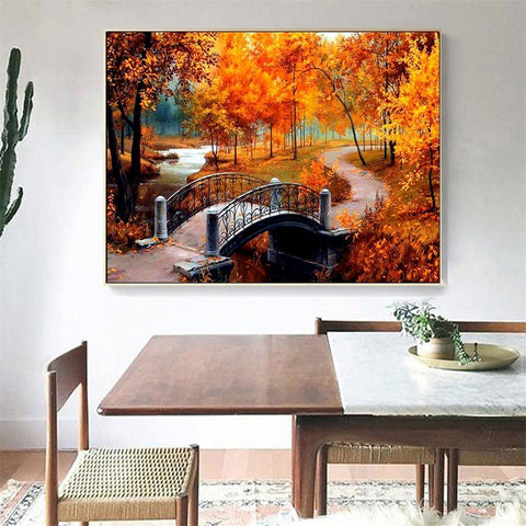 Image of CROSSING THE BRIDGE IN AUTUMN SERIES Diamond Painting Kit - DAZZLE CRAFTER