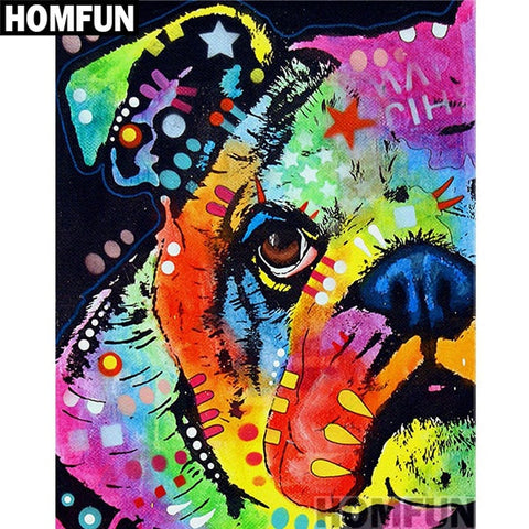 Image of COLORFUL BULLDOG Diamond Painting Kit - DAZZLE CRAFTER