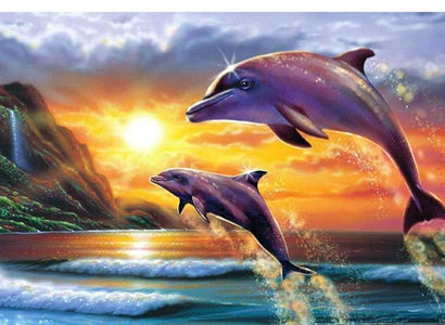 Dancing Dolphins Diamond Painting Kit-BEGINNER'S KITS - DAZZLE CRAFTER